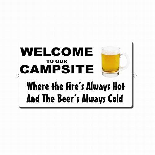 Blechschild mit Aufschrift Welcome to Our Camp Site Bier, 20 x 30 cm