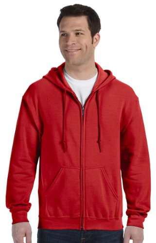 Gildan Gildan Heavy Blend Kapuzen-Sweatshirt, Durchgehender Reißverschluss Gr. M, rot