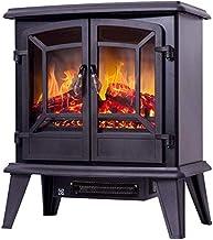 QNQ Z-Termoventiladores 1400W Horno eléctrico Calentador, Fuego eléctrico con Envolvente Repisa LED Llama Efecto Chimenea Estufa de Calor de calefacción Interior (Color : Black)