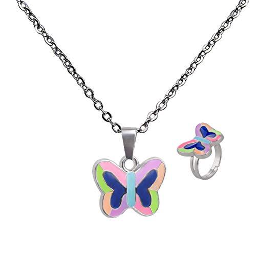 Hellery Modeschmuck Ring Stimmungsring und Halsschmuck Gefühlskette Stimmungskette Farbwechsel Schmetterling Anhänger