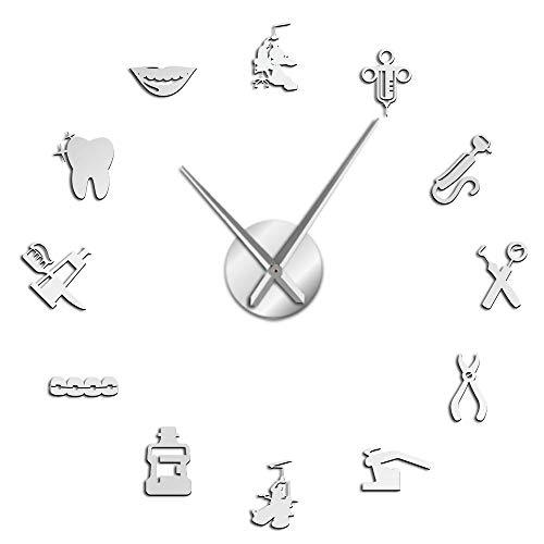 VCS Dentista DIY Reloj de Pared Gigante Dental Doctor Reloj de Pared Grande Aguja Grande Espejo decoración de Oficina Dentista Regalo médico Arte(Plata,120CM)