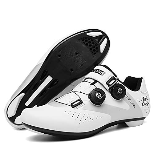 ZHBW Zapatos De Ciclismo Zapatos De Bicicleta De Montaña Profesional Transpirable Carreras De Bicicleta Zapatos De Auto-Bloqueo (Color : White, Shoe Size : 39EU)