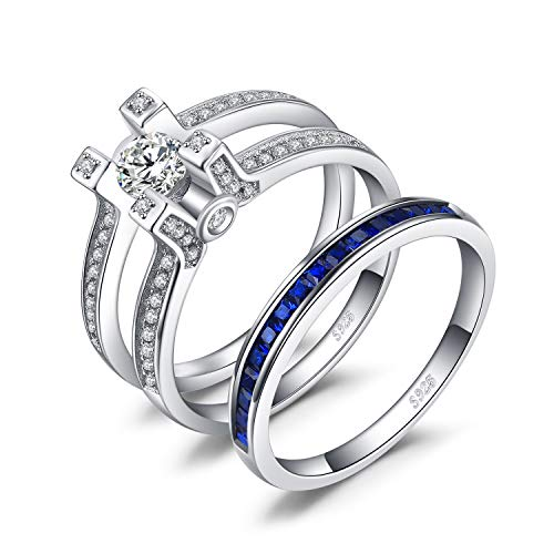 JewelryPalace Art Deco 1.5ct Quadratische Form Erstellt Saphir Zirkonia Halo Verlobungsring 925 Sterling Silber