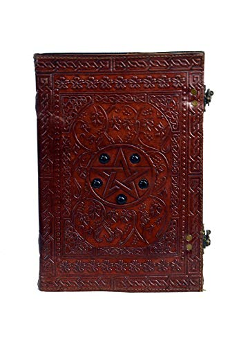 Large Pentagram The Book of Shadows Leather Journal Pentacle Charmed Witch Gifts for Women Stone Supernatural Notebook Celtic Hocus Pocus DND Blank Spell Pagan Witchcraft Diary 10 x 7 inches (Brown)