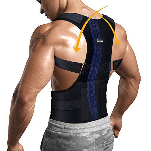 Junlan Back Holder Posture Corrector With Lumbar Support Belt For Shoulder Neck Pain Relief Device Adjustable Clavicle Support Brace (Black, M)