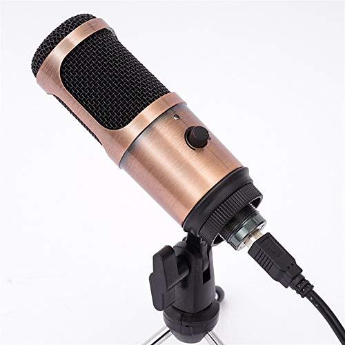 El canto Micrófono condensador Conjunto con el cable for usuarios de YouTube grabación Conferencia video stream en vivo Smartphone para iPhone Android iPad PC (Color : Brass)