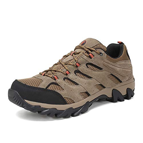 FANTURE Men's Lightweight Hiking Shoes Camping Shoes Outdoor Sneakers U419FSYDX002-Brown-44