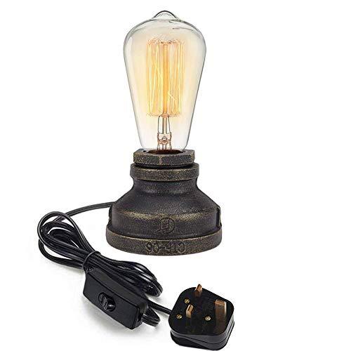 Dgdffgsdf Industriële ijzeren waterpijp dimbare tafellamp vintage bureaulamp Edison-lampen verlichting onderdelen voor bar café-huis slaapkamer werkkamer studio-decoratie, zonder gloeilamp Industrieel Schwarz Kabel