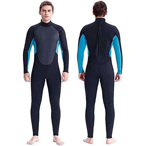 POOPFIY Traje de Neopreno de 3mm de Hombre de Neopreno para Hombres, Traje de Buceo, Traje Mojado para Pescar, Deportes de Surf, al Aire Libre,Azul,XL