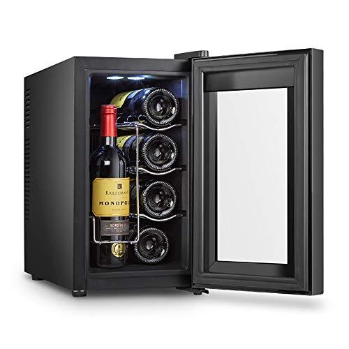 L-M-Yang Enfriador de Vino de 8 Botellas, Mini Bar, Puerta de Vidrio, Temperatura 8-18 ° C, bajo Nivel de Ruido, Doble acristalamiento, Carcasa de Acero Inoxidable, Compacto