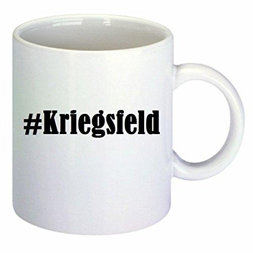 Kaffeetasse #Kriegsfeld Hashtag Raute Keramik Höhe 9,5cm ? 8cm in Weiß