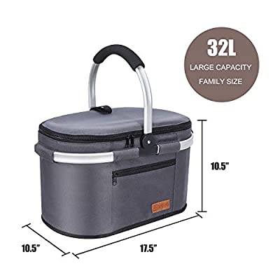 Insulated Picnic Basket Portable Collapsible Market Basket Stylish Large Picnic Tote with Aluminum Handle for Camping Travel Leakproof Lightweight Cooler Bag (Grey)