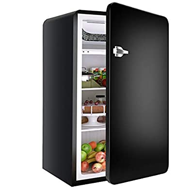 Retro Compact Refrigerator, Safeplus 3.2 Cu.Ft Mini Fridge, Small Drink Food Storage Machine for Dorm, Garage, Camper, Basement or Office(Black)