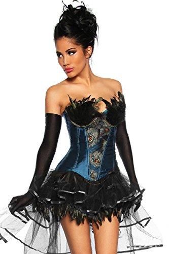 Dessous Edle Burlesque-Corsage mit Federn Pfauen-Design Schwarz-blau-gold, Größe:L