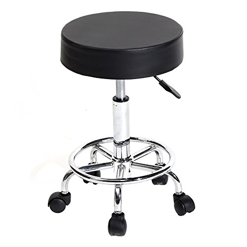 Round Rolling Massage Chair PU Leather Height Adjustable Swivel Salon Stool for SPA Medical Home Office Chair Stools (Backless-Black)