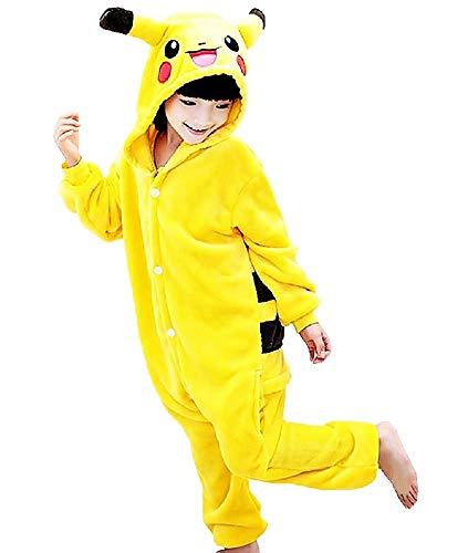 Lovelegis Disfraz de Pikachu para niños - Pijama de una Pieza - Pikachu - Pokemon - niños - Disfraz - Carnaval - Halloween - Color Amarillo - Cosplay - Unisex - Talla 110 - 5/6 años - Idea de Regalo