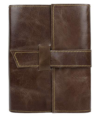 Handmade Refillable Leather Journal - Antique Travel Notepad for Men & Women - Lined 8 x 6 inches Paper Notebook Diary for Writers, Artist, Poet - Gift Set for Him & Her (Journal with Ruled Lined)