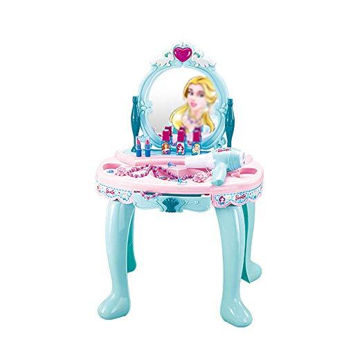 WH-IOE Frisierkommode für Mädchen Frühkindliche Bildung Puzzle Girl Play House Ice Princess Dresser Spielzeug Kinder Spielzeug (Color : Blue, Size : 74x45x30cm)