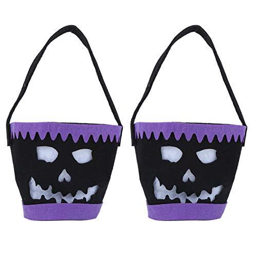 Felt Resuable Halloween Pattern 2pcs Halloween Tote Light Halloween Candy Bucket for Building(B Black)