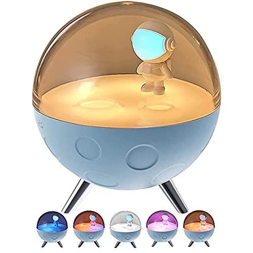 Xnhgfa LED Creativo Astronauta Luz de Noche Lámpara de Noche Decorativa Adorno de Decoración de Escritorio, Regalos para Niños Music Version con Cable de Datos USB,Azul,Sleep Aid