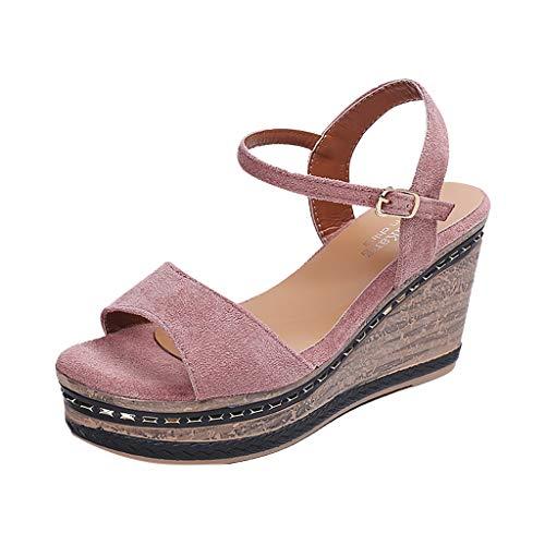 Sandalias de Cuña Mujer Verano 2019 - Alto Tacon 9.5cm - Elegante Zapatos con Plataforma 4CM - de Vestir para Playa Fiesta - Talla 35-40
