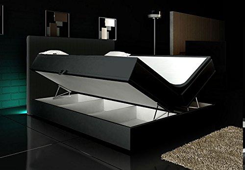 Wohnen-Luxus Boxspringbett Schwarz Lift 200x200 inkl. 2 Bettkasten Hotelbett Bett LED Rio Lift