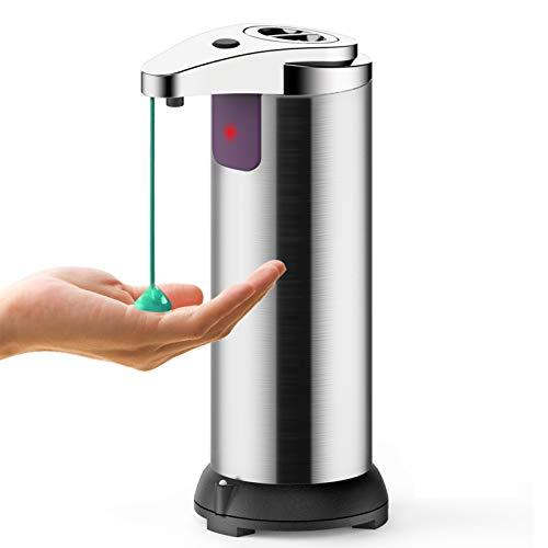 ASANMU Seifenspender Automatisch, 250ml Elektrischer Seifenspender mit Sensor Infrarot, Touchless Edelstahl Seifenspender mit Wasserdichter Basis für Büro, Badezimmer, Küchen, Hotels und Restaurants