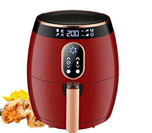 NANXCYR friteuse, Power Air, 2,6 l, draagbaar, vetvrij, met hete lucht en bakplaat, 1400 W, rood