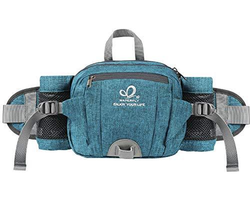 Waterfly Riñonera Running Deportiva Impermeable Multifuncional Bolso de Cintura con Portabotellas para Correr Senderismo Ciclismo para Hombre Mujer (Azul Verdoso)