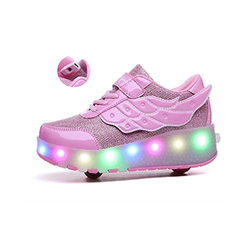 Ehauuo Kids USB Charging LED Light up Shoes with Wheels Retractable Roller Skates Shoes Roller Sneakers for Unisex Girls Boys Beginners Gift
