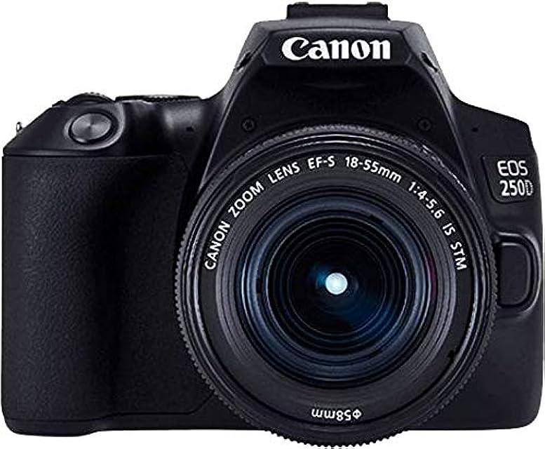 Canon EOS 250D - Cámara digital (241 MP 6000 x 4000 Pixeles CMOS 4K Ultra HD pantalla táctil) negro - kit con cuerpo y EF-S 18-55IS STM