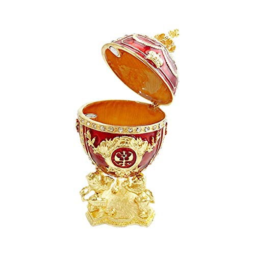 DTKJ Estilo Ruso Huevos de Pascua Almacenamiento Esmalte Pintado Caja de Almacenamiento Accesorios para el hogar para Anillo, Collar, Organizador de joyería