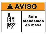 Señalización CoronaVirus Servicio en Mesa | Cartel Barra Cerrada para Bar, Restaurante, Cafetería por COVID-19 | Señal Autoinstalable Hotelería COVID 19 | 21 x 30 cm | Descuentos por Cantidad