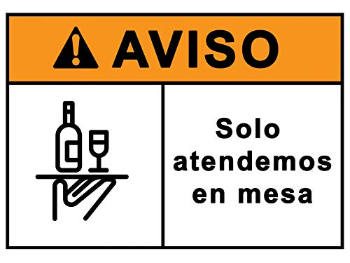 Señalización CoronaVirus Servicio en Mesa | Cartel Barra Cerrada para Bar, Restaurante, Cafetería por COVID-19 | Señal...