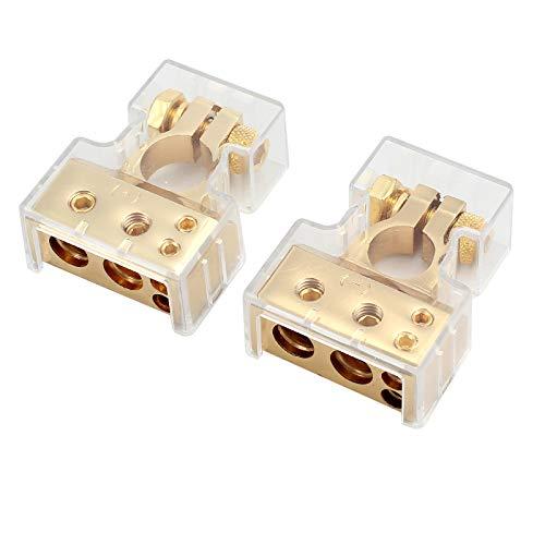 eSynic 4/8 Gauge AWG KFZ Batterieklemmen Positiver und Negativer Battery Terminal Anschlussstecker mit Abdeckung 1 Paar Golden