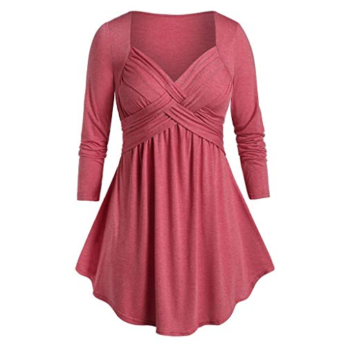 aihihe Women Plus Size Long Sleeve Tops Criss Cross V Neck T Shirt Casual Loose Tunic Tops Comfy Blouse Pullover Hot Pink