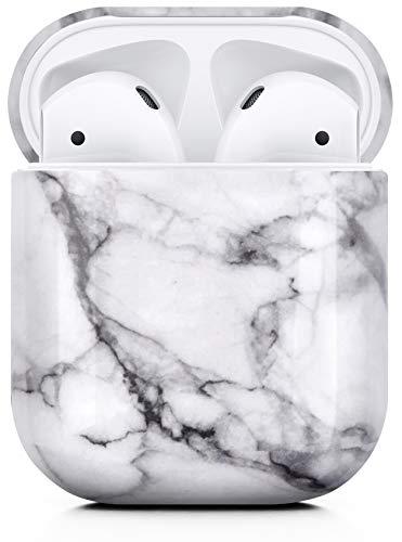 MyGadget Coque pour Apple Airpods 1 & 2 Protection 360° Case Universel - Housse Plastique Rigide Ultra Slim Anti Choc Rayure & Poussière - Marbre Blanc
