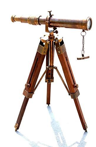 Telescopio náutico hecho a mano de latón antiguo con trípode de madera, color marrón, aspecto antiguo, telescopio marino, gran regalo para cumpleaños, Navidad, Halloween, Año Nuevo