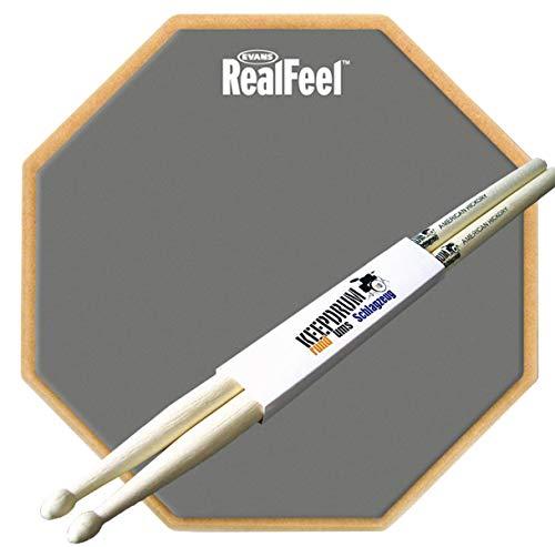 Evans RF12D Real Feel Practice Pad Übungspad 2-seitig + keepdrum Drumsticks 1 Paar