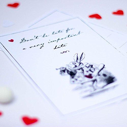Alice au pays des merveilles Invite Noir et blanc avec cœur rouge et enveloppes Lot de 6
