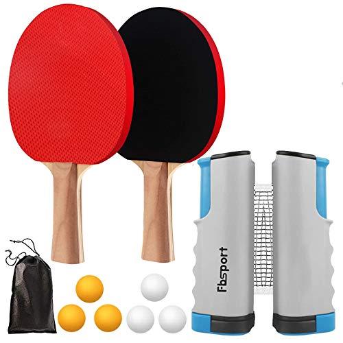 FBSPORT Sets de Ping Pong, Palas Ping Pong Set, Professionales 2 Raquetas, 6 Pelotas, 1 Red Retráctil, 1 Bolsa para Entrenadores Adultos Niños Interior Exterior