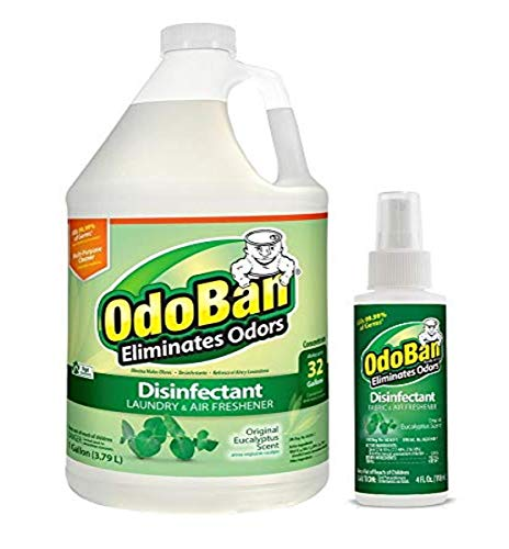 OdoBan Odor Eliminator and Disinfectant, 1 Gallon Concentrate and 4oz Travel Spray, Eucalyptus Scent