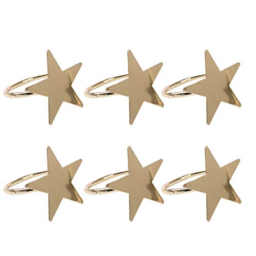 goneryisour 6Pcs Five-Pointed Star Napkin Rings, uitable for Holiday Parties, Dinners, Wedding Receptions