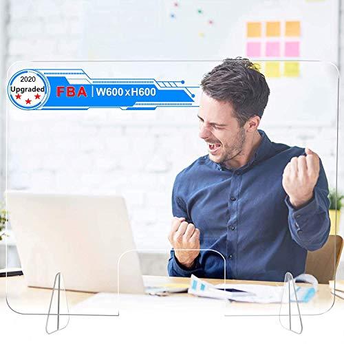 TvvaaFog Spuckschutz Plexiglas Schutzwand Thekenaufsatz Trennwand transparent für Büro Schreibtisch Acrylglas,Spuckschutz Thekenaufsatz mit Durchreiche Stabil,Hustenschutz Niesschutz