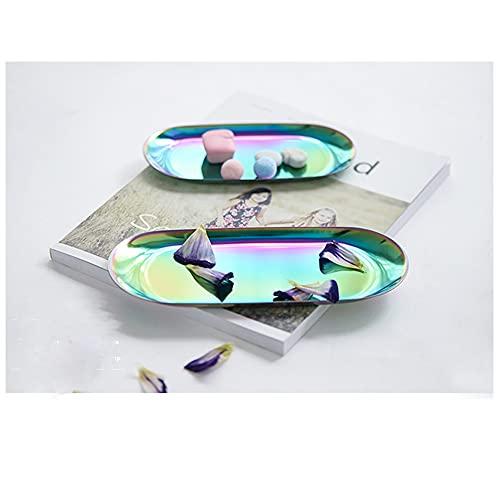 Gisela 2 bandejas coloridas de acero inoxidable, bandeja para joyas, plato ovalado de almacenamiento de toallas para té, frutas, organizador de cosméticos Ramadán vajilla, 2 unidades