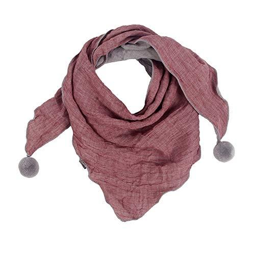 Westeng Kinder Schals Niedlich Dreieck Schal aus Baumwolle mit Haarball, Warmer und Winddicht Halstücher für Winter (Rot)