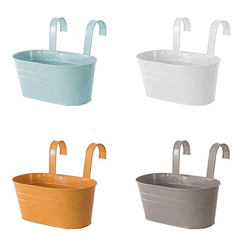 HLTER 4 macetas colgantes de hierro de metal para flores, vallas ovaladas para jardín, balcón, macetas con ganchos, macetas...