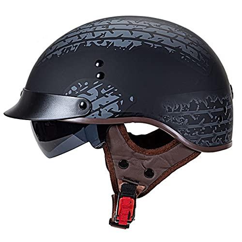 YALIXING Helmets Classic Vintage Moto Jet Abierto RetroMedio Casco,Dot Homologado Casco Moto Abierto Crucero Scooter Off-Road Casco Exterior Equitación Protectora Cascohelmet