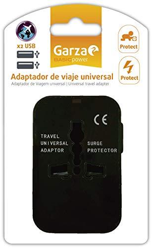 Garza Universele reisadapter, stekkerdoos + 2 USB-aansluitingen, kinderbeveiliging