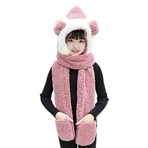 Gorro de invierno 3 en 1 cálido de felpa para niños, diseño de lazo, orejas de oso, bufanda con capucha